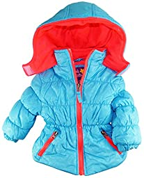 Pink Platinum Baby Girls Infant Pop Colors Cheetah Tonal Puffer Winter Jacket, Turquoise, 24M