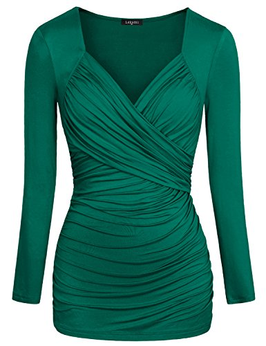 Laksmi Women's Cross-front V Neck Ruched Long Sleeve Blouse Top (S, Green)