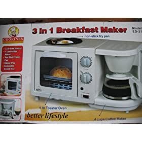 3 in 1 Breakfast Maker includes Coffee Pot, Toaster Oven and Non-Stick Fry Pan