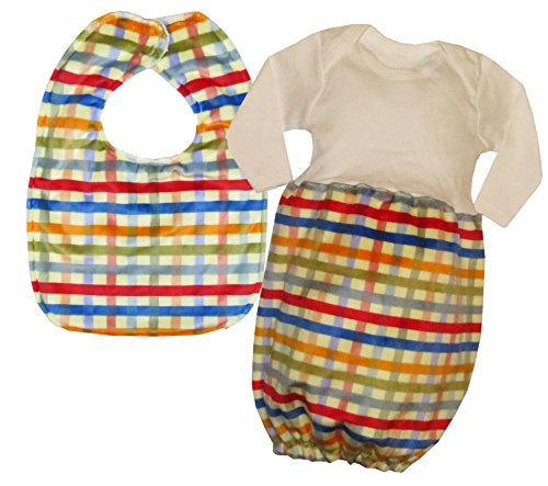 Caught Ya Lookin' Baby Bib Gift Set, Red, Yellow and Blue Plaid