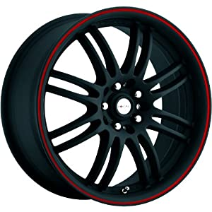 Focal F-16 16 Black Red Wheel / Rim 5×105 & 5×4.5 with a 42mm Offset and a 74 Hub Bore. Partnumber 163-6724B