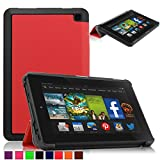 Britainbroadway 2014 Fire HD 6 Case Cover - Tri-Fold Ultra Slim Stand Case Cover With Smart Cover Auto Wake/Sleep Case For Amazon New Kindle Fire HD 6.0 Inch 4th Generation Tablet (Fire HD 6, Red)