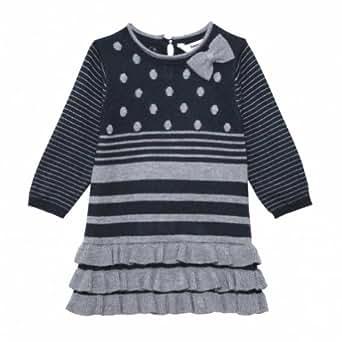 Amazon com 3pommes baby girls polka dot bow dress 18m navy grey