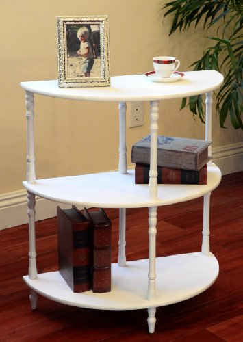 Cheap Frenchi Furniture Wood 3-Tier Crescent ,Half Moon ,Hall / Console Table/End Table in White Finish (MW25-WH(Frenchi))