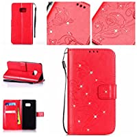 Samsung Galaxy Note 7 Case [With Tempered Glass Screen Protector],idatog(TM) Magnetic Flip Book Style Cover Case ,High Quality Classic Elegant Bling Sparkle Rhinestone Flower Butterfly Pattern Design Premium PU Leather Folding Wallet Case With [Lanyard Strap] and [Credit Card Slots] Stand Function F