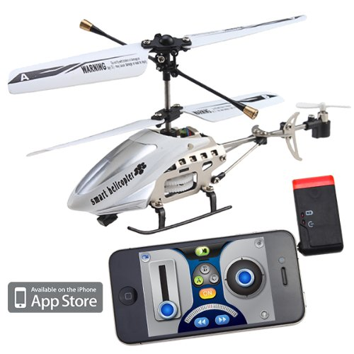 Mini iPhone/iPod Touch/iPad Controlled Rechargeable 3 Channel RC i-Helicopter with Gyro (Silver & White)