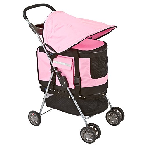 Pink Pet Stroller, Carrier and Car Seat All-in-One