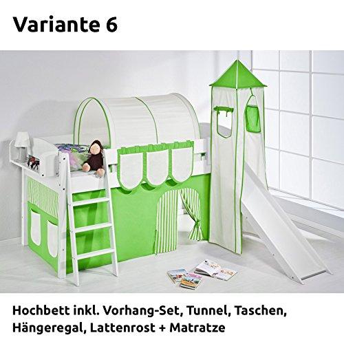 Hochbett Spielbett IDA Grün Beige, mit Turm, Rutsche und Vorhang, weiß, Variante 6 jetzt kaufen
