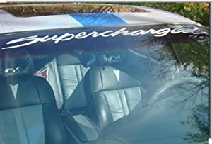 SUPERCHARGED Windshield Banner Decal - Grand Prix, Regal, Monte Carlo - (Color: Reflective Dark Blue)