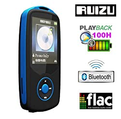 Gadget Heros RUIZU X06 Bluetooth Ultra Portable High Res. Multimedia Player, Supports FLAC APE FLAC APE MP3 WAV WMA. Built In 4 GB. 64Gb Micro SD Card Supported. Excellent Lossless Sound Reproduction. AV Player Voice Recorder FM Player Ebook Reader Calendar Alarm Clock. Blue
