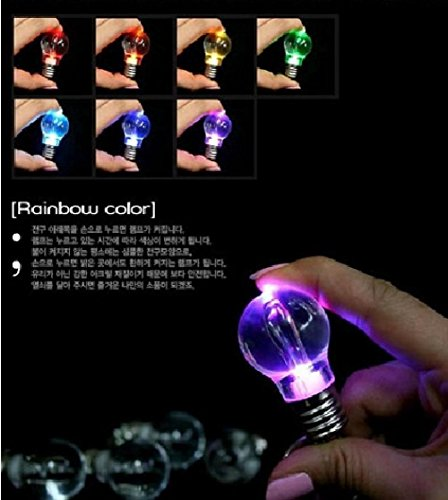 Unisex Ball Llaveros Top Fashion Romantic 12pcs/lot Led Colorful Change Light Bulb Rainbow Keychain Chain Ring Fob Keyring (Lightbulb Key Chain compare prices)