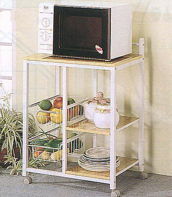 Metal Microwave Cart With Casters, Baskets, Two Storage Shelves In Natural And White Finish. (Item# Vista Furniture Cf2506)