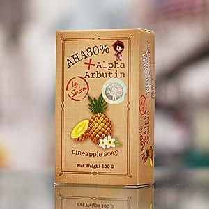 Sabu 80G.Alpha Arbutin Skin Whitening Soap AHA 80% , Pineapple Soap Skin Lightening