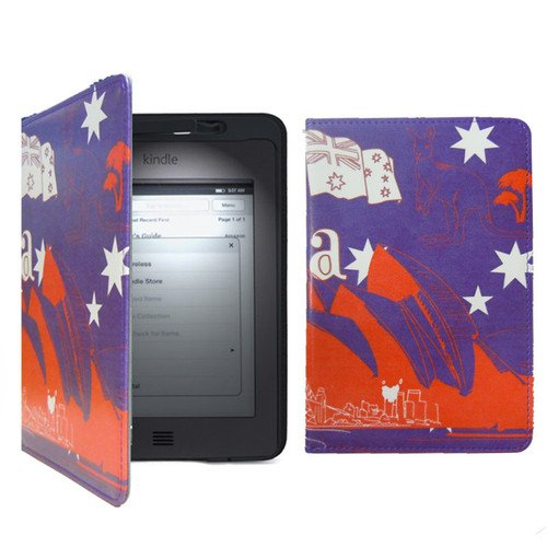 New Leather Case Cover For Amazon Kindle Touch Build In Light Led Lamp Australia