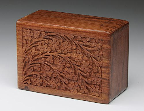 The Urnco. Exclusive Indian Rosewood Urn Box- Tree of Life Carving- Large (Cremation Box Urns compare prices)