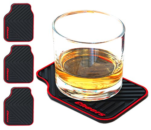 ARTORI Novelty Silicone Drink Coasters, Cheers Car Mat, Unique Gifts Idea For Dad, Man, Him, Car Guys, Car Enthusiast, For Men Who Have Everything, Anniversary Gift For Men, Set of 4 (Large, Black)