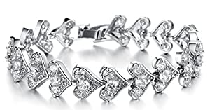 18K White Gold Plated Women Charm Bracelet Inlaid White CZ Crystal Heart Tennis Bracelet - Adisaer