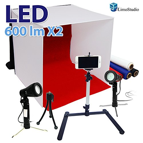 LimoStudio Photography Table Top Photo Light Tent Kit, 16″ Photo Light Box, 5500K 600 Lumen LED Lighting Kit, Camera Tripod & Cell Phone Holder, AGG1066
