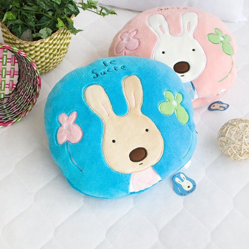 [Sugar Rabbit - Round Blue] Blanket Pillow Cushion / Travel Pillow Blanket (25.2 by 37 inches)