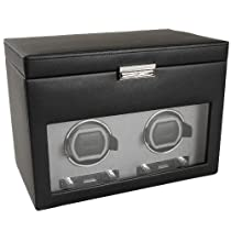 Wolf Designs 456202 Viceroy Collection Module 2.7 Double Watch Winder with Cover and Storage