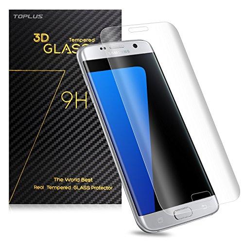 TOPLUS Film de Protection d' Écran 3D Incurvé en Verre Trempé pour Samsung Galaxy S7 Edge (Transparent)