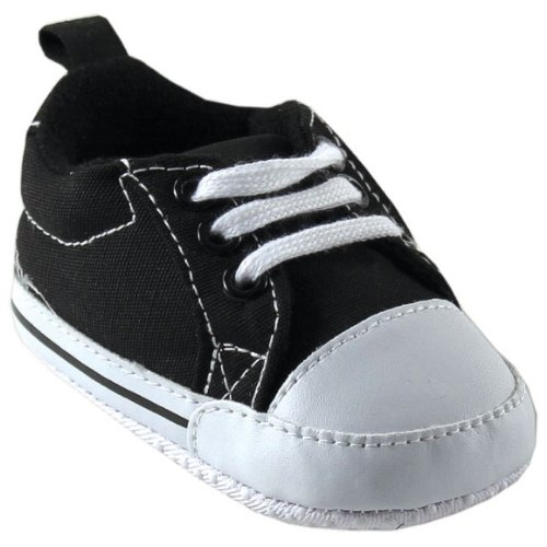 Luvable Friends Basic Canvas Sneaker, Black, 12-18 months