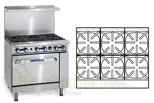 "Imperial Commercial Restaurant Range 36"" With 6 Burners 1 Convection Oven Propane Model Ir-6-C front-16401"