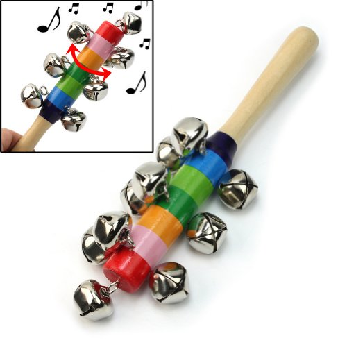Lovely Baby Kid Rainbow Pram Crib Handle Wooden Bell Stick Shaker Rattle Toy New