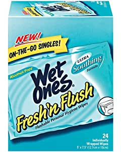 Wet Ones Fresh 'n Flush, Personal Hygiene Wipes On-The-Go 24 ea