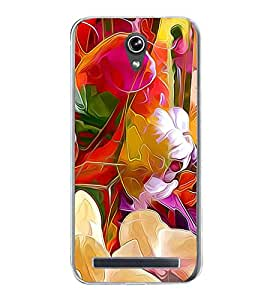 Bright Colourful Flower Pattern 2D Hard Polycarbonate Designer Back Case Cover for Asus Zenfone Go ZC500TG (5 Inches)