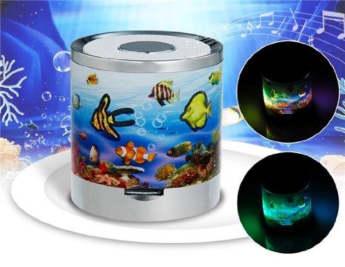 A2018 Underwater World 3.5Mm Plug Mini Speaker With Flash Light, Tf Card Slot & Fm Radio (White)