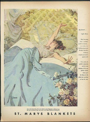 Day Dream - Night Dress St Mary'S Blankets Ad 1948 Gannam Pin-Up In Bed front-1030323