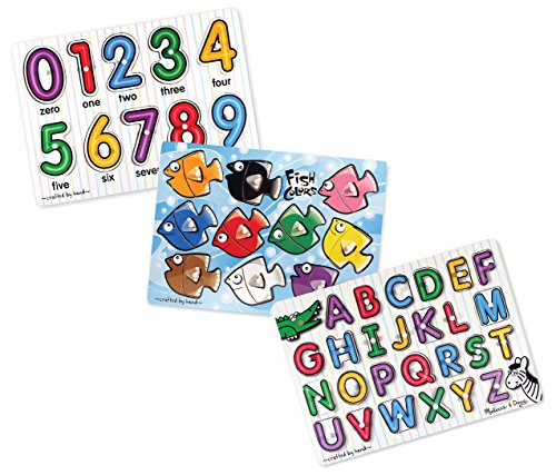 Melissa & Doug Classic Wooden Peg Puzzles (Set of 3) - Numbers, Alphabet, and Colors (Wooden Number Set compare prices)