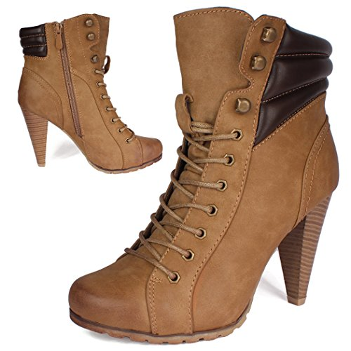 best-boots Ladies Boots Womens Shoes Lace-Up High Heels