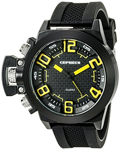 Cepheus Men's Quartz Watch with Black Dial Analogue Display and Black Silicone Strap CP901-622C