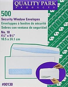 Quality Park 90130 Quality Park Security Window Envelopes, Contemporary Seam, #10, White, 500/Box