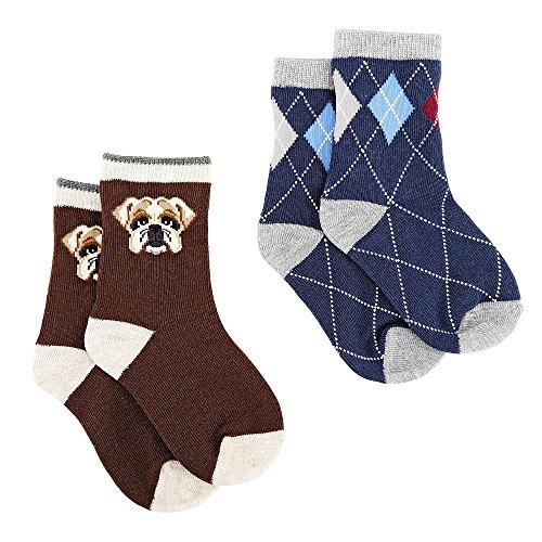 Koala Kids Boys 2 Pack Bulldog And Argyle Print Socks- Toddler, Multi-Color, 3T/4T front-366361
