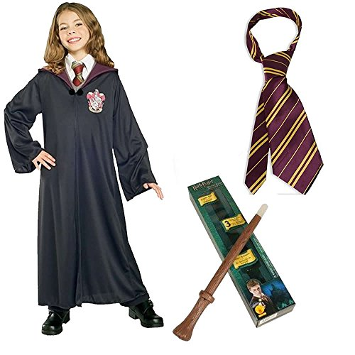 Harry Potter's Hermione Child Costume Including Gryffindor Robe, Wand and Tie - Large