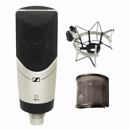 Sennheiser Mk4 Set Cardioid Condenser Large Diaphragm Microphone With Mks4 Shockmount,And Popguard