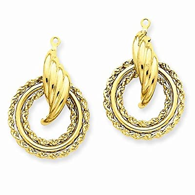 Solid 14k Yellow Gold Polished Fancy Unique Earring Jackets (28mm x 18mm)