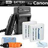 2 Pack Battery And Charger Kit For Canon PowerShot D30 D10 D20 Waterproof Digital Camera Includes 2 Extended (1200Mah) Replacement NB-6L Batteries + Ac/Dc Travel Charger + Float Strap + Cleaning Cloth