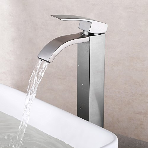 KES Waterfall Bathroom Faucet Brushed Nickel Single Handle Lavatory Vessel Sink Faucet One Hole Brass Contemporary Hotel Square Style, L3109B-2 (Sink Faucet One Hole compare prices)