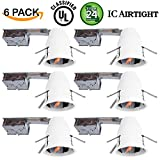 """6 Pack of 4"""" inch Remodel LED Can Air Tight IC Housing LED Recessed Lighting- UL Listed and Title 24 Certified"""