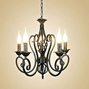Wrought iron ceiling candelabra