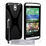 Yousave Accessories HTC Desire 610 Case Black Silicone X-Line Cover With Stylus Pen