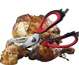 Kitchen Scissors - Heavy Duty Checkered Chef Multifunction Shears