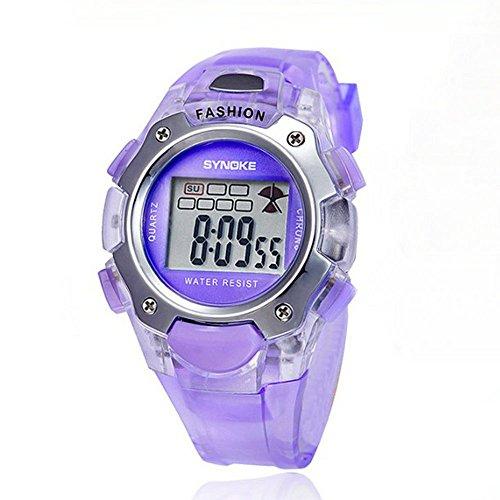 Kano Bak Child Kids Boy Girl Student Digital Crystal Alarm Sports Waterproof Waterproof Gift Watch Purple 99319