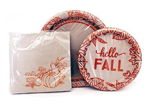 Hello Fall Copper Foiled Plates and Napkins