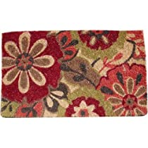 Doormat Gift Shop - Red Mod Floral and Natural Decorative Heavy Duty Coir Doormat, Design 3 :  floral design natural coir