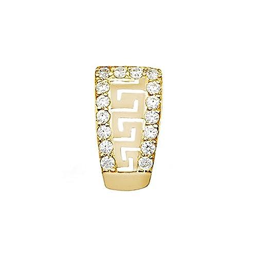 18k gold pendant ends fretwork zircons [AA4587]